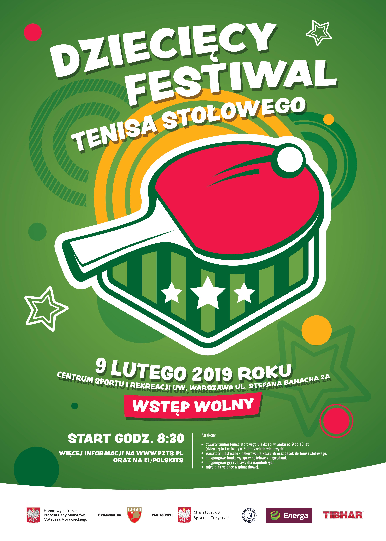 Plakat Dziecięcy Festiwal Tenisa Stołowego